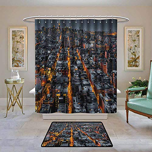 Custom Shower Curtain City,Avenues Converging Towards Midtown in New York America Architecture Aerial, Marigold Grey Black,Print Polyester Fabric Bathroom Decor Sets with Hooks 55