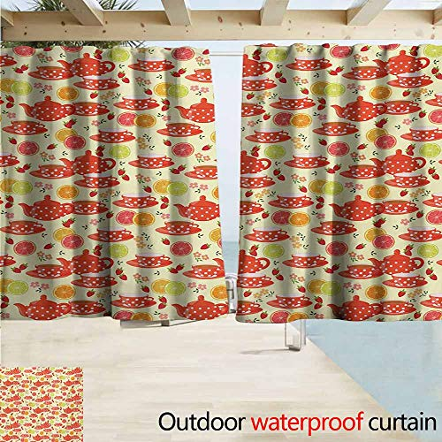 AndyTours Sliding Door Curtain,Modern Teapots and Cup with Polka Dots Lime Orange and Strawberry Fruits Cute Display,Draft Blocking Draperies,W72x72L Inches,Yellow Scarlet ()