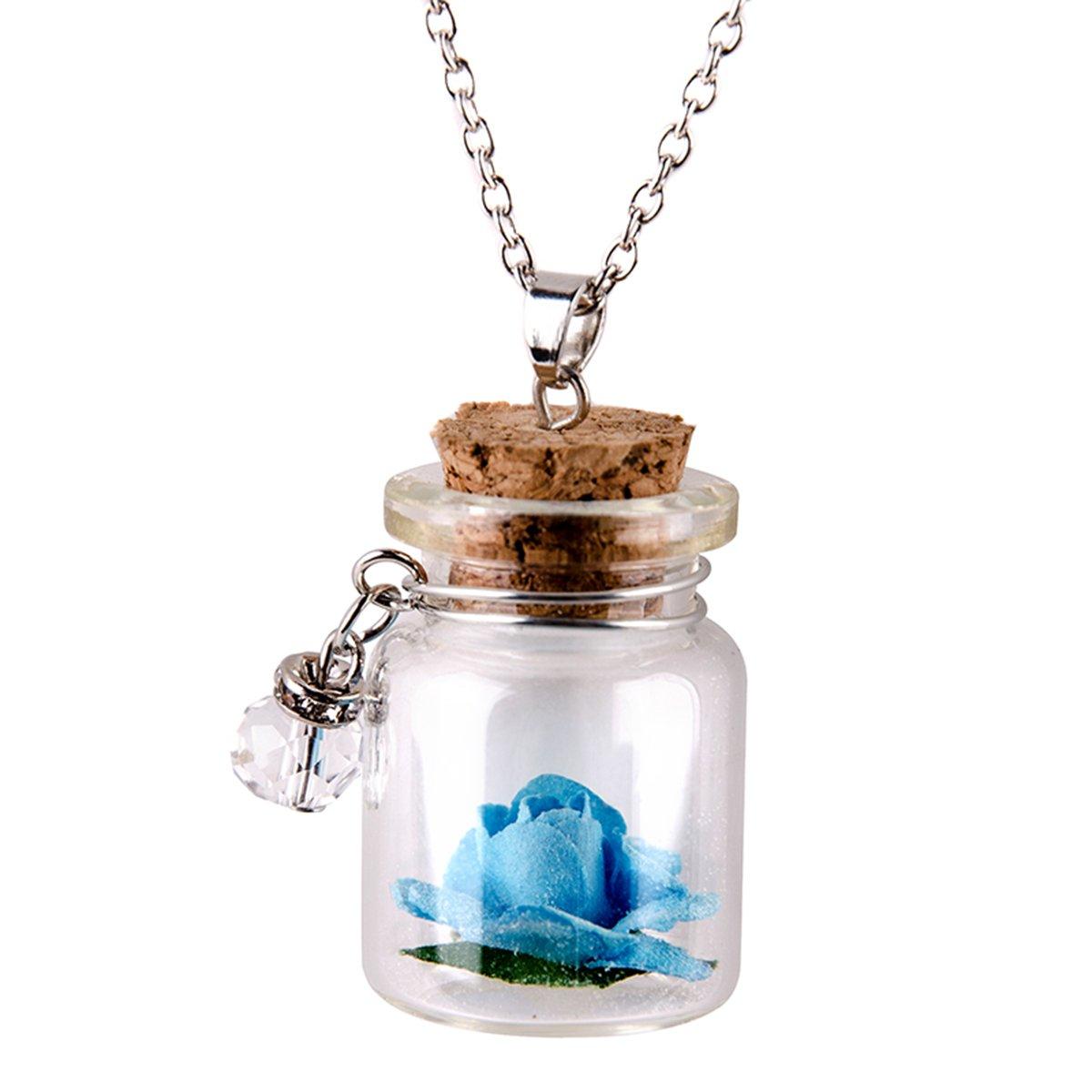 Glas Anh/änger Kette Blume mit Flasche
