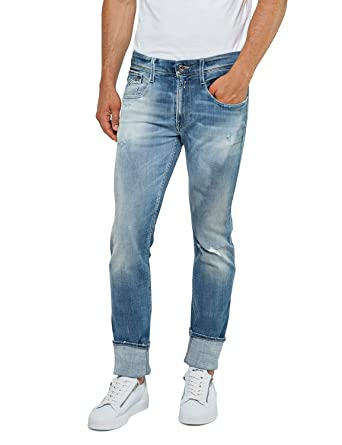 1befbb82 Replay Anbass Slim Fit Aged 10 Years Jeans Blue M914N 141 460 010: Amazon.co .uk: Clothing