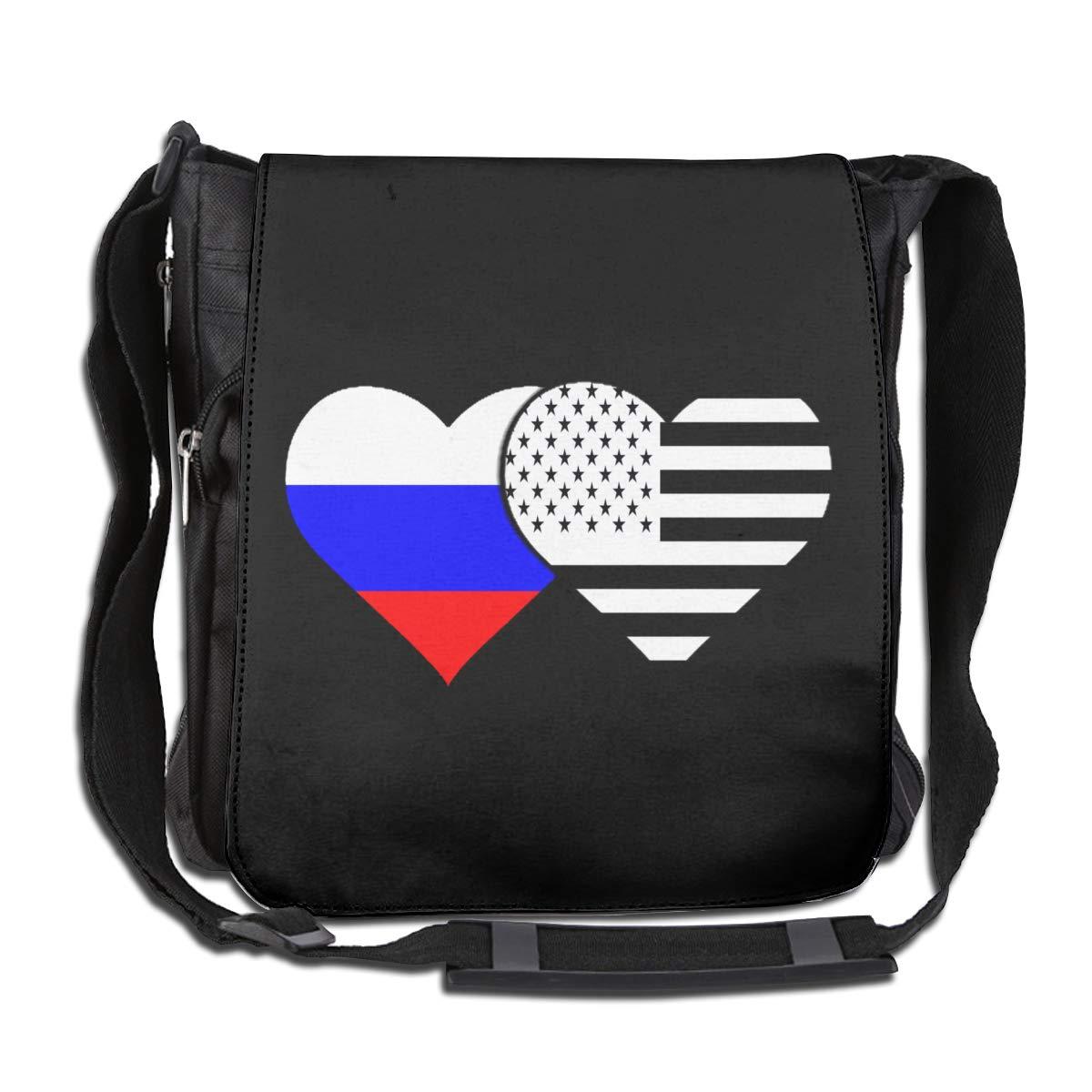Unisex Messenger Bag Russian Flag And American Flag Crossbody Shoulder Bag