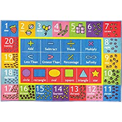 "KC CUBS Playtime Collection Math Symbols, Numbers and Shapes Educational Learning Area Rug Carpet For Kids and Children Bedroom and Playroom (3' 3"" x 4' 7"")"