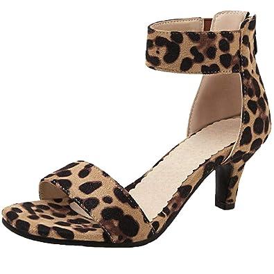 bb9a270274 Vitalo Womens Leopard Print Kitten Heel Sandals Open Toe Ankle Strap Pumps  Size 4 B(