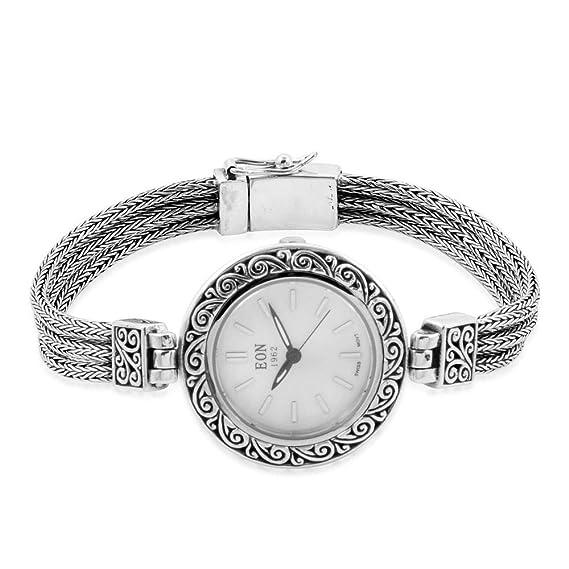 EON 1962 - Reloj Suizo Resistente al Agua 3 ATM, Esfera MOP DE 16,5 cm, Color Plateado: Amazon.es: Relojes