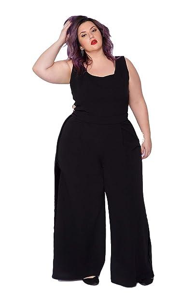 1d18d7918f0 Amazon.com: Astra Signature Women's Plus Size Sexy Scoop Neck Lyra Wide Leg  Jumpsuit Formal Sleeveless Pantsuit: Clothing