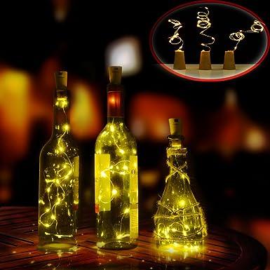 Luces LED en Forma de Corcho de Botella de Vino, Cable de Luces de Cobre Para Adornar Botellas, Bodas, Navidad, Fiestas, Decoraciones Caseras (Blanco Cálido ...