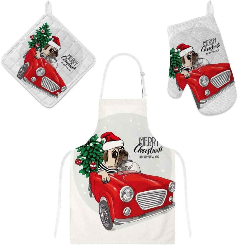 Top Carpenter Polyester Kitchen Oven Mitts Glove Potholder Apron 3Pcs Set Christmas Dog with Red Car Non Slip Heat Resistant Mitts for Baking Cooking BBQ
