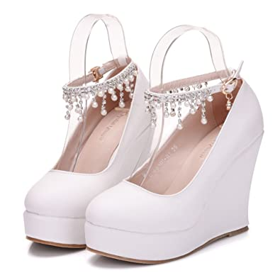 84478b25544 White Wedges Pumps Heels Round Toe Platform Wedges Shoes with Pearls Chain  Wedding Party Pumps (