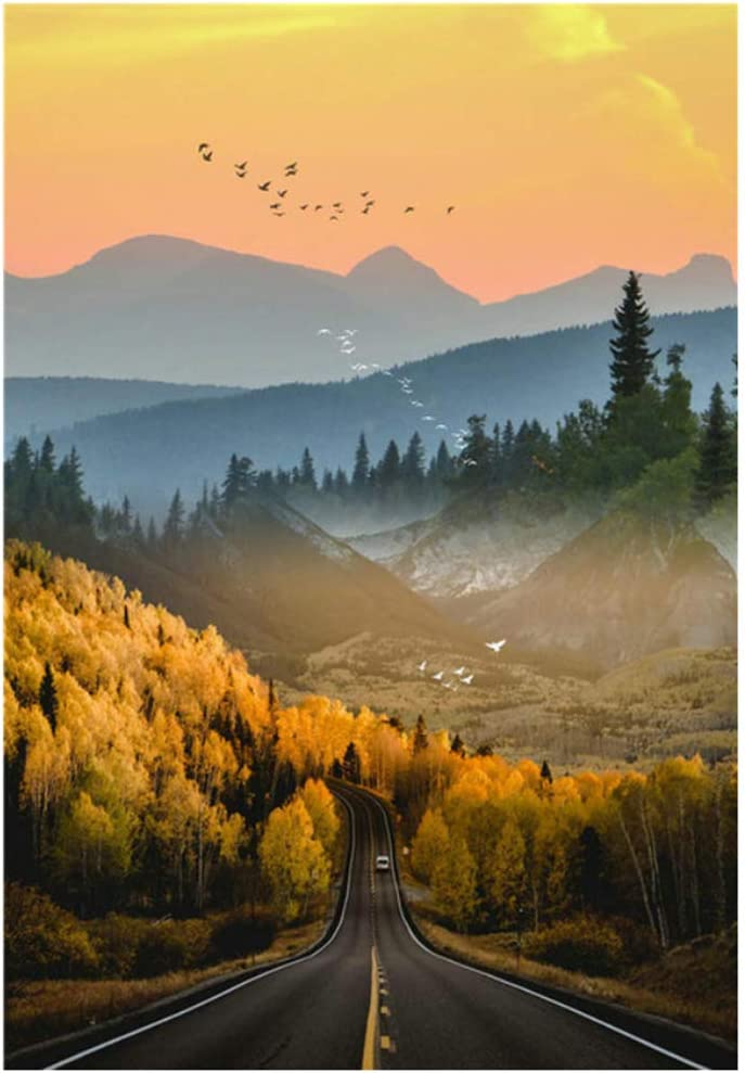 Nature Scenery Canvas Painting Mountain Road Landscape and for Bedroom Home Decor 40x70cm(15.7''x27.5'') Framed