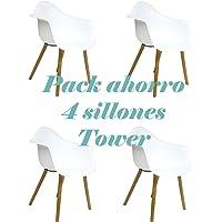 Oui Home - Conjunto 4 Sillones Tower Blancos