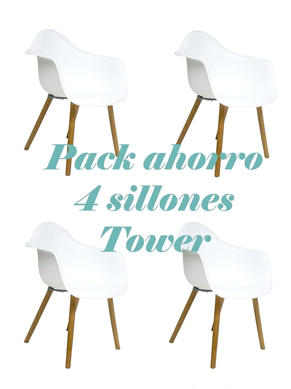 Oui Home - Conjunto 4 Sillones Tower Blancos Abs: Amazon.es ...