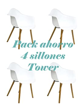 Oui Home - Conjunto 4 Sillones Tower Blancos Abs: Amazon.es ...