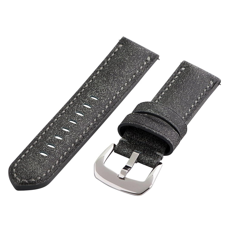 Clockwork Synergy Gentlemen 'sコレクション – 22 mmブラックBomberレザー腕時計バンド  B01MQT6RK3