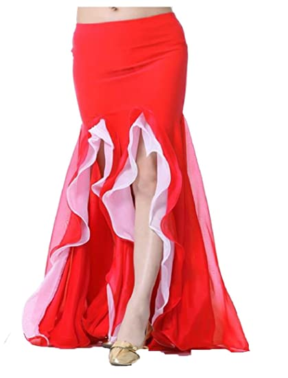 5a02ad81d6 ouxiuli Women's Elegant Double-Slit Ruffles Front Belly Dance Bodycon Maxi  Skirt 1 OS at Amazon Women's Clothing store:
