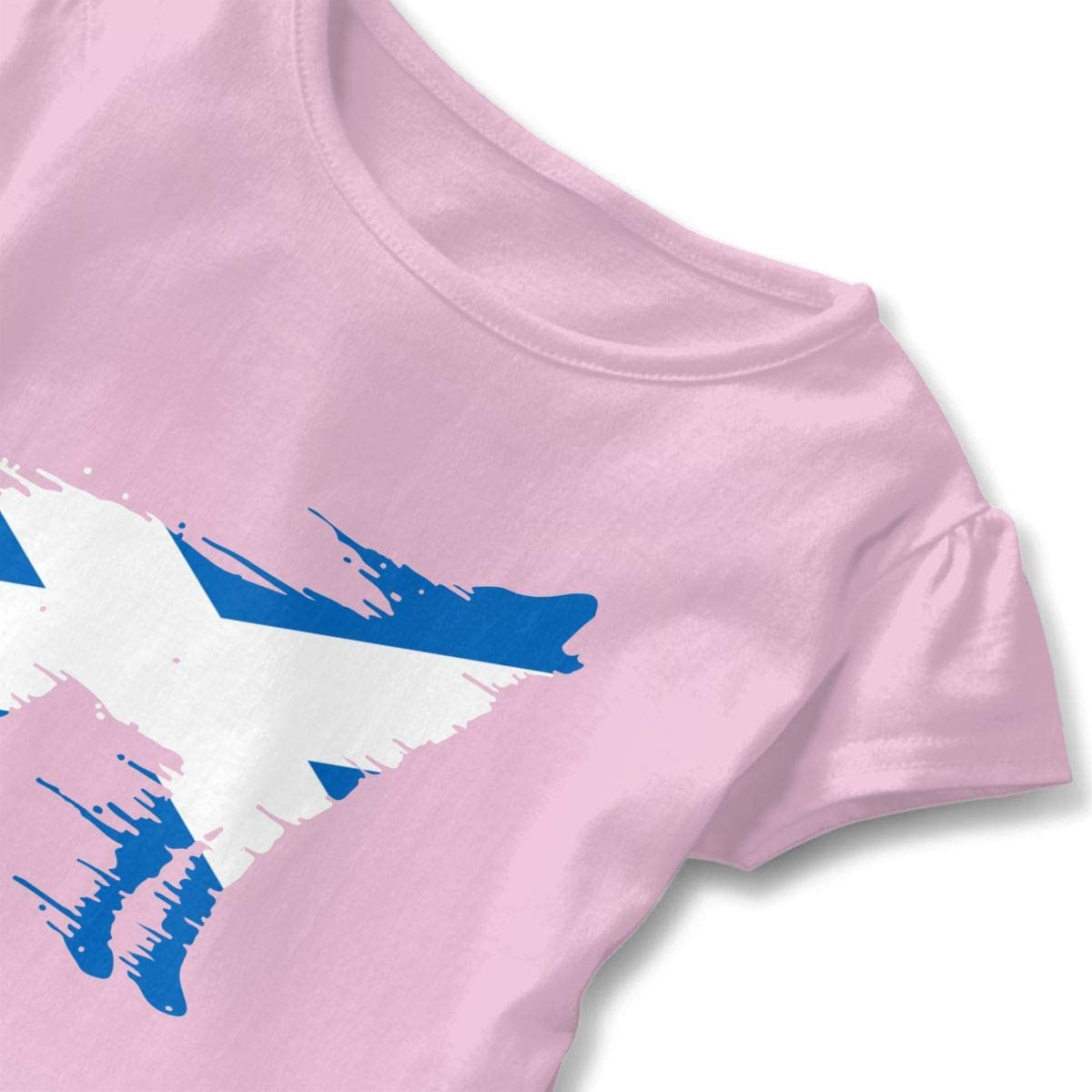 Scotland Flag Wolf Kids Baby Girls Short Sleeve Peplum Shirts
