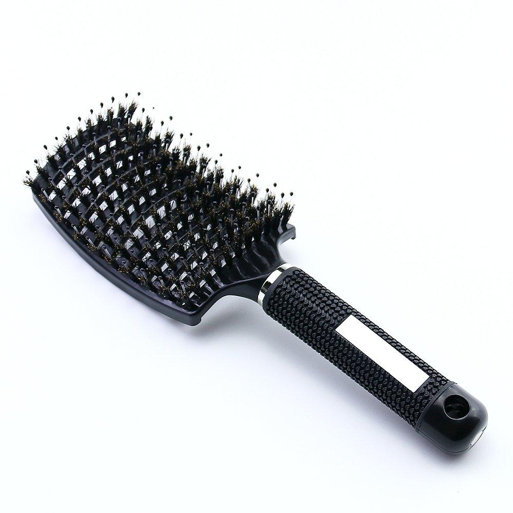 Brosse à Cheveux En Poils De Sanglier JT JUSTIME– Grande courbe Vent Brosse à cheveux avec poils doux antistatique léger – pour femme Brosse à cheveux longue, épaisse, fine et frisée(Noir)