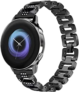 T-BLUER Compatible Samsung Galaxy Watch Active 40mm/Galaxy Watch 42mm Band for Women, Bling Jewelry Bracelet Adjustable Stainless Steel Metal Bands Bangle Straps Rose Gold Silver Black