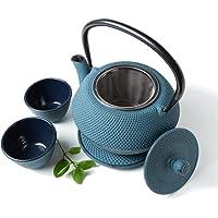 Tealøv Zestaw żeliwny dzbanek, 1,1 litra, kompletny serwis do herbaty z żeliwa, zestaw do herbaty w stylu japońskim…