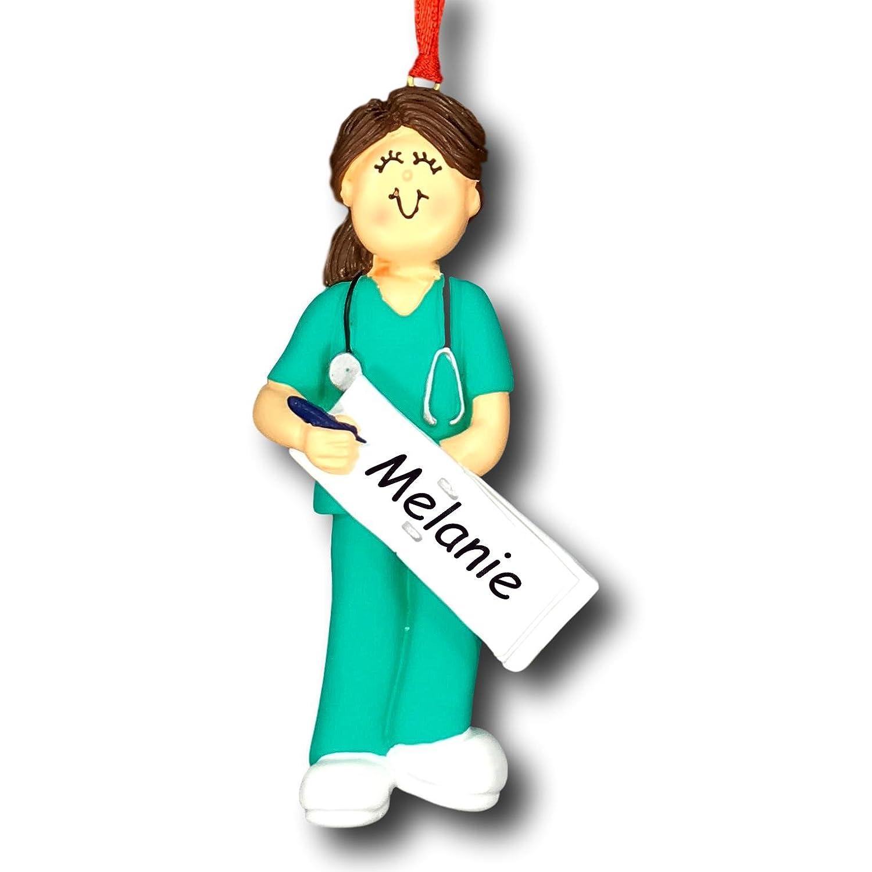 Amazon.com: Ornament Central OC-230-FBR Female Scrubs Nurse ...