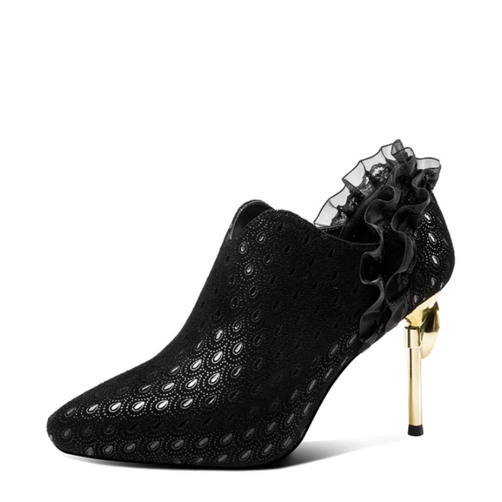 DCYU Spitze High Heels weibliches Stilett zeigte Mode tiefen