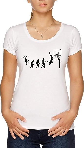 Baloncesto Evolución Camiseta Mujer Blanco: Amazon.es: Ropa y ...