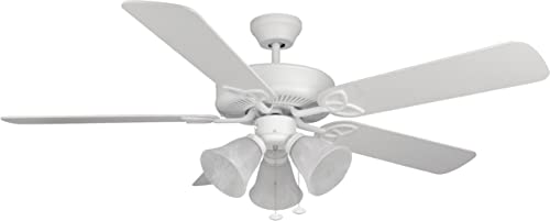 Craftmade BLD52MWW5C3 Builder Deluxe Triple Mount 52 Ceiling Fan with 180 Watts Light Kit, 5 Blades, Matte White