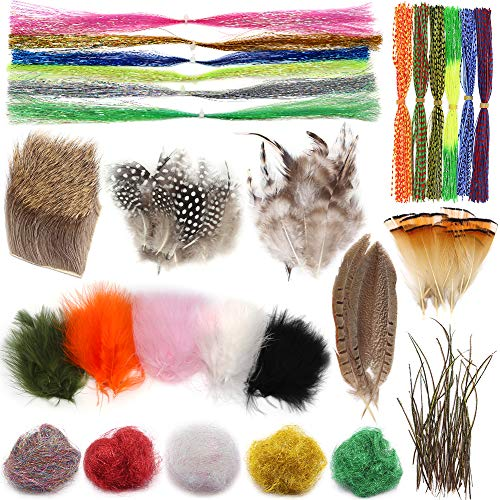 XFISHMAN Fly-Tying-Materials-kit 10 in 1 Flies Making Set for Beginners Fly Tieing Starter Kit Feathers Deer Hair Hackle Marabou Peacock Herl Flashabou Silicone Skirt Rubber Legs