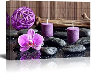 wall26 - Canvas Prints Wall Art - Zen Stones with Purple Orchid and Calming Candles | Modern Wall Decor/Home Decoration Stretched Gallery Canvas Wrap Giclee Print. Ready to Hang - 12