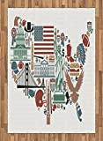 Map Area Rug by Ambesonne, Traditional Symbols in The Form of United States of America Map Travel Landmarks Flag, Flat Woven Accent Rug for Living Room Bedroom Dining Room, 5.2 x 7.5 FT, Multicolor
