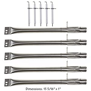Hisencn Stainless Steel Grill Burner Pipe Tube, Igniter Electrode Replacement Parts for Brinkmann Brinkman 810-2511-S, 810-2512-S, 810-3660-S, 810-4220-S & More Gas Grill Models