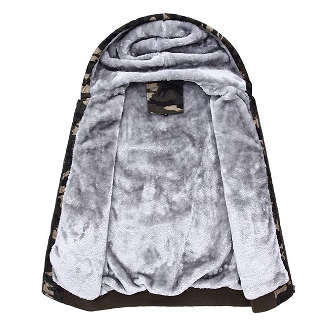 Cromoncent Mens Big and Tall Fleece Hooded Camo Cotton Sweatshirts