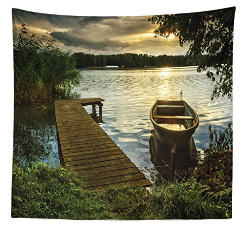 Pier Queen Wall (Lunarable Seascape Tapestry Queen Size, Boat at Lake Shore Wooden Pier Sunset Sunbeams Romantic Evening, Wall Hanging Bedspread Bed Cover Wall Decor, 88 W X 88 L Inches, Brown Dark Green Yellow)