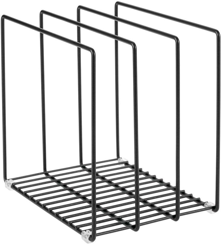 Porta pentole salvaspazio con 3 scomparti per padelle taglieri o tegami Scaffale da appoggio cucina per dispensa o pensili mDesign Organizer cucina in metallo bronzo