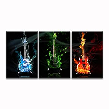 Music Guitar Wall Art Abstract Canvas Prints Art Home Decor For Living Room  Modern Black And