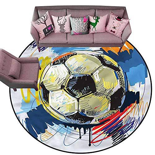 Carpet for Living Room Soccer,Colorful Detailed Artful Diameter 66