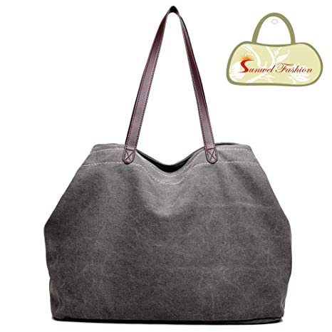 Image Unavailable. Image not available for. Color  Sunwel Fashion Woman 3  Compartments Multi-pockets Large Space Canvas Tote Roomy Shoulder Handbag  Laptop 18358ddf3f
