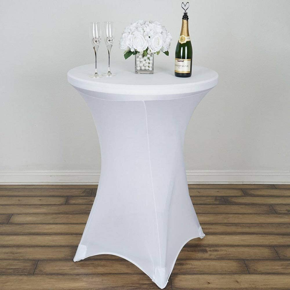 Cocktail Spandex Table Cover for Events Decoration White YSefa