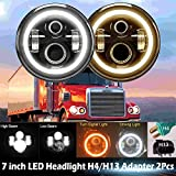 75 chevy truck bezel - (Bracket Not Included) 7 Inch Round H6017/H6024 LED Headlight with Halo Amber Ring for Freightliner Coronado Jeep Truck All-in-one High Low Sealed Beam DRL Turn Signal Lights Bulb (Package of 2)