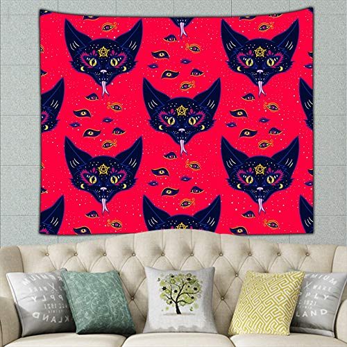 zuo chunhong5 Demon cat The Arts Alchemy Tapestry Wall Hanging, Hippie Sunset Forest Tapestry, Wall Art Decoration for Bedroom Living Room Dorm, Window Curtain Picnic Mat 50ʺ × 60ʺ