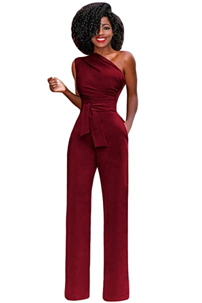 5c16173419a8 emmarcon tuta elegante pantaloni lungo jumpsuit vestito monospalla abito  cerimonia da donna-Red-IT44-46 L  Amazon.it  Abbigliamento