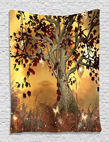 Fairy Tapestry (Wall Art Decor Old Twisted Tree Fairy Scene Butterflies Wings Enchanted Forest Nature Fantasy Imaginary Mystic Wonderland Tapestry Hanging Wildlife Living Room Dorm Decor, Brown Burgundy Yellow)
