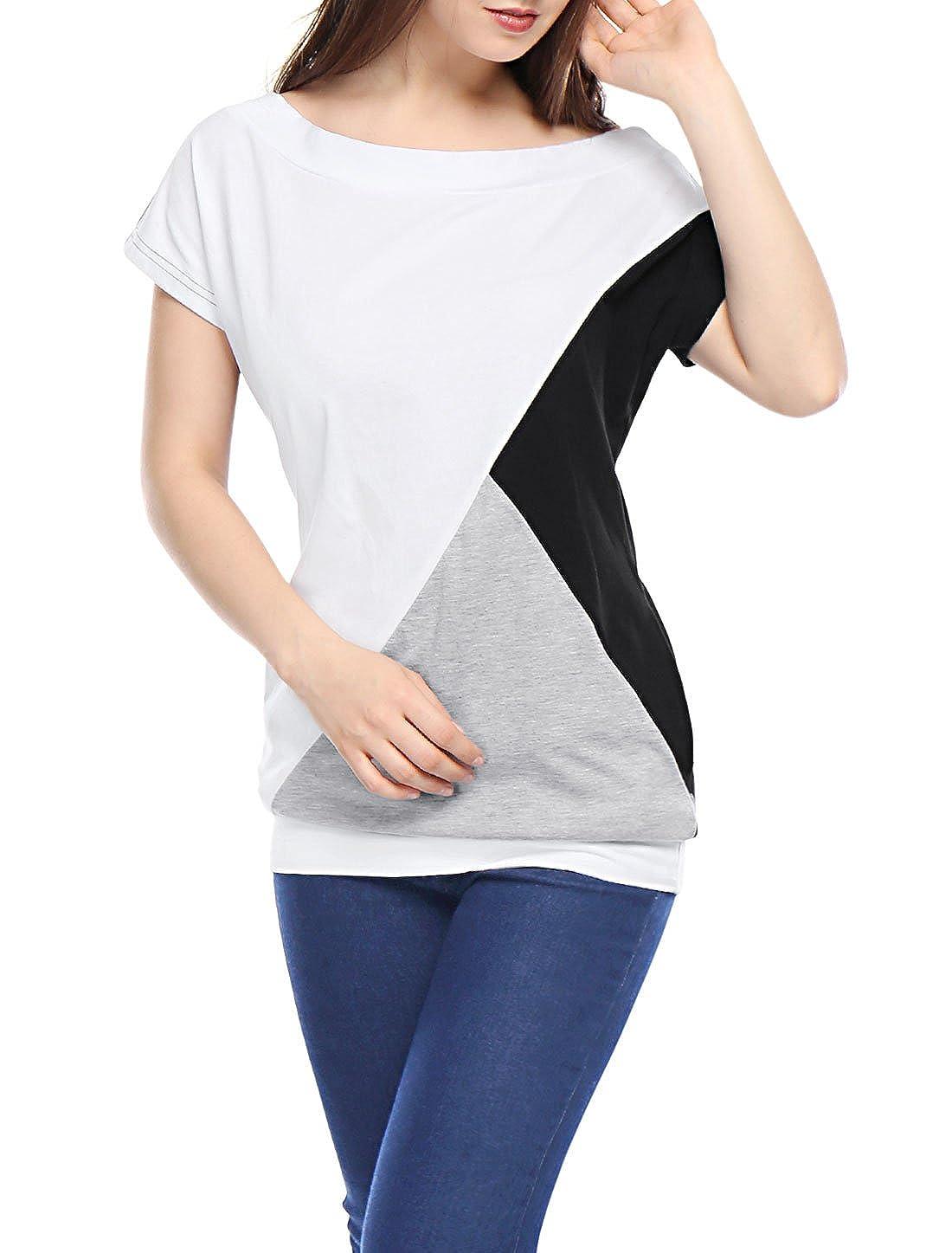 Allegra K Women Boat Neck Loose Short Sleeve Color Block Tunic Top