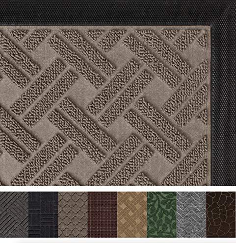 Gorilla Grip Original Durable Rubber Door Mat (29 x 17) Heavy Duty Doormat, Indoor Outdoor, Waterproof, Easy Clean, Low-Profile Mats for Entry, Garage, Patio, High Traffic Areas (Taupe Basket Weave)