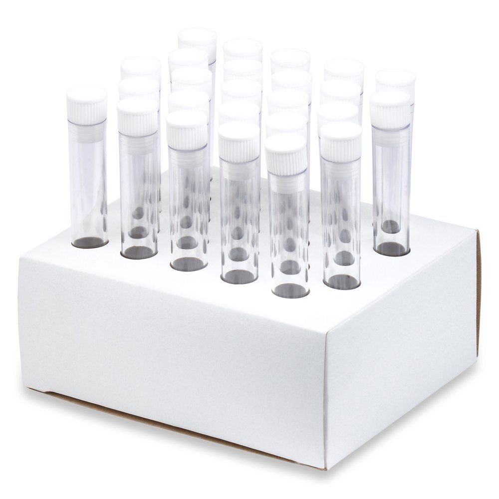 13x100mm PS Plastic Test Tubes, Hollow Top Caps, Cardboard Rack - Pack 25, Karter Scientific 62A8