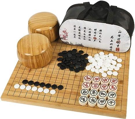 Mankvis - Game Juego de Mesa, Chinese Go/Chess 2 en 1 Tamaño de ...