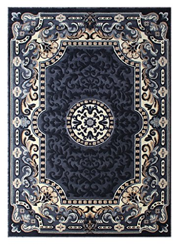 (Kingdom Traditional Design Area Rug Grey Black Off White (5 Feet X 7 Feet))