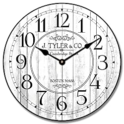 The Big Clock Store Harbor White Wall Clock, Available in 8 sizes, Most Sizes Ship 2-3 days, Whisper Quiet.