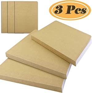 Fyess 3Pack A5 Kraft Cover Blank 100g Full Wood Paper Sketch Book,120Sheets / 240 Pages,350gsm Kraft Paper Cover,Hardcover Bound Sketch Notebook for Drawing, Writing and Journal Refills(5.8x8.25 Inch)