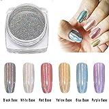 Laser Nail Chrome Powder - Mirror & Laser Effect Holographic Glitter Nail Powder Manicure Pigment - 0.5g (2box)
