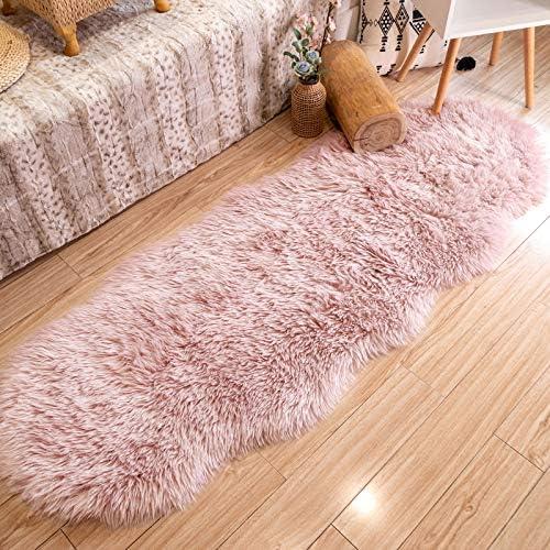 Ultra Soft Faux Fur Sheepskin Pink Bedside Rug Area Rug Indoor Fluffy Shag Washable Rug